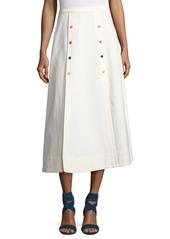 Saloni Candy Button Flared Midi Skirt