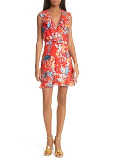SALONI Cece Floral Print Ruffle Trim Dress