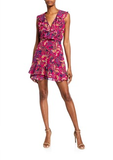 Saloni Cece V-Neck Sleeveless Floral-Print Ruffled Cocktail Dress