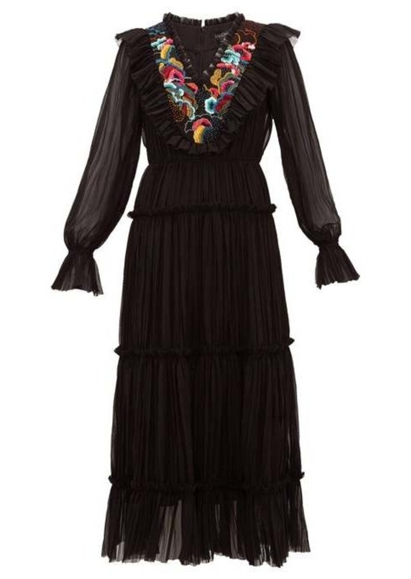 Saloni Celestine embroidered georgette midi dress