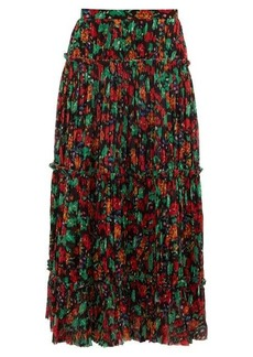 Saloni Celestine floral-print pleated crepe skirt