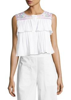 Saloni Cleo Embroidered Crop Top