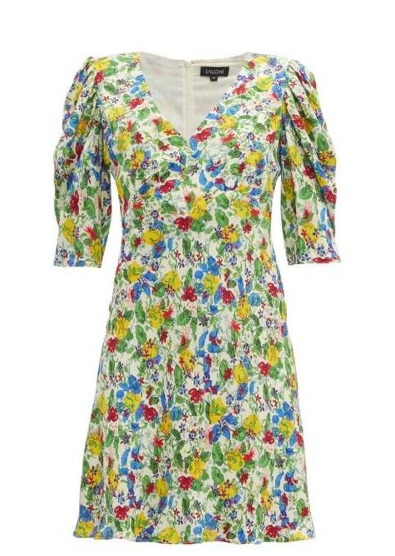 Saloni Colette floral-print crepe mini dress