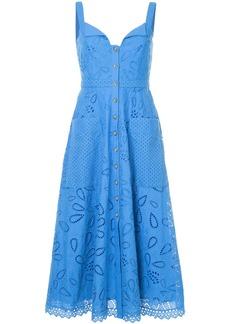 Saloni crochet embroidered midi dress - Blue