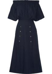 Saloni Dakota off-the-shoulder stretch cotton-poplin midi dress