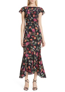 SALONI Daphne Floral Silk Midi Dress