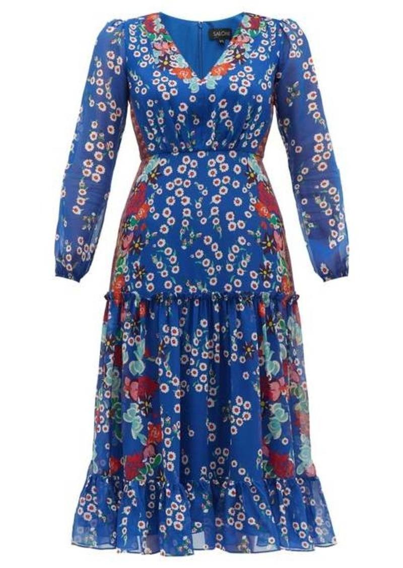 Saloni Devon floral-print silk crepe de Chine dress