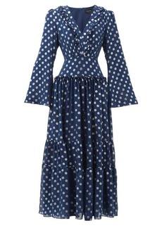 Saloni Devon polka-dot jacquard silk-blend dress