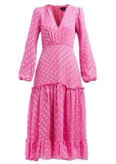 Saloni Devon polka dot-jacquard silk-blend dress