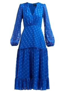 Saloni Devon polka-dot silk-georgette dress