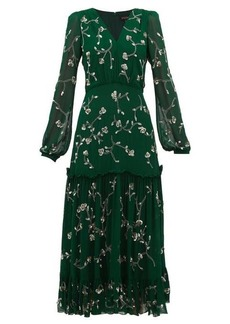 Saloni Devon sequin floral-embroidered midi dress