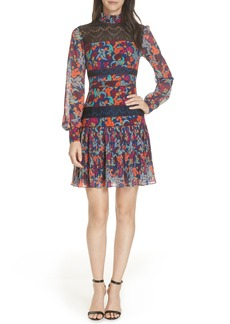 SALONI Dina Lace Inset Floral Print Dress