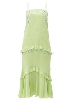 Saloni Divina embroidered silk-georgette midi dress