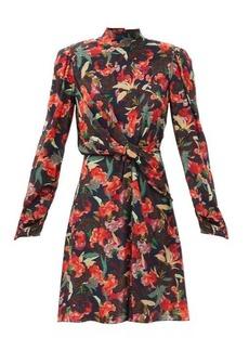 Saloni Dusk Moonflower-print silk crepe de Chine dress