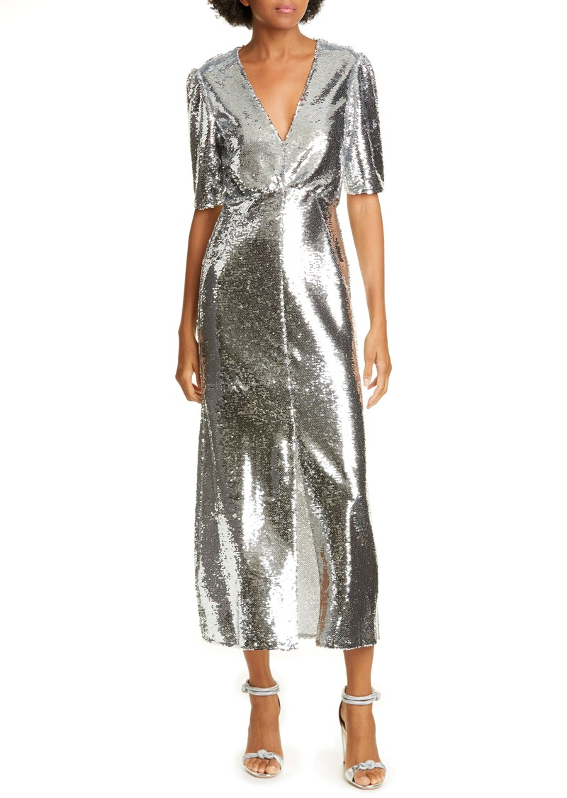 SALONI Eden Sequin Silk Midi Dress