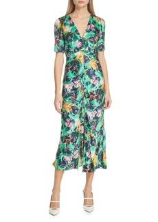 SALONI Eden Floral Print Silk Midi Dress
