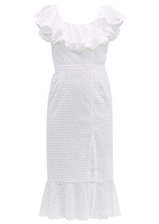 Saloni Ella ruffled cotton broderie anglaise midi dress