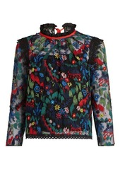 Saloni Elsa floral-embroidered tulle top