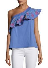 Saloni Esme One-Shoulder Embroidered Top