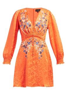 Saloni Eve floral-jacquard silk mini dress