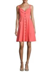 Saloni Fara Button-Front Poplin Short Dress