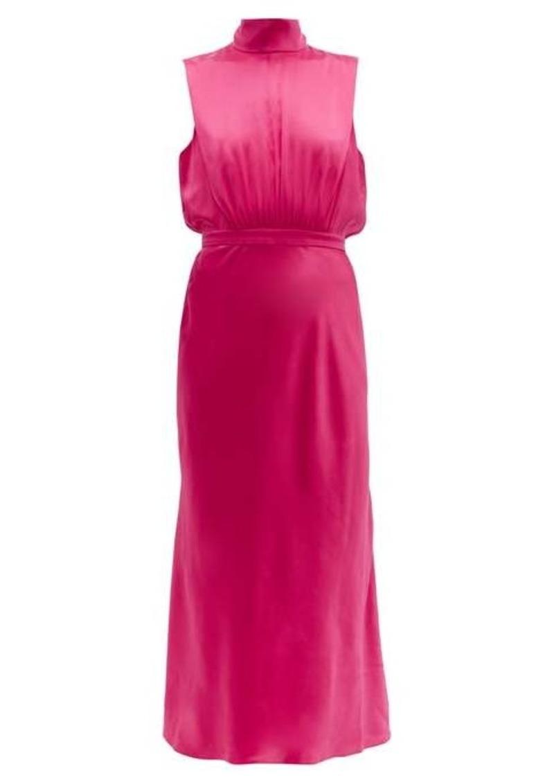 Saloni Fleur high-neck silk-satin midi dress