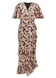 Saloni Floral fil-coupé silk-blend dress
