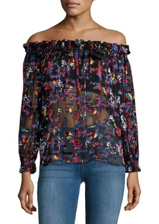 Saloni Gaby Off the Shoulder Sheer Blouse
