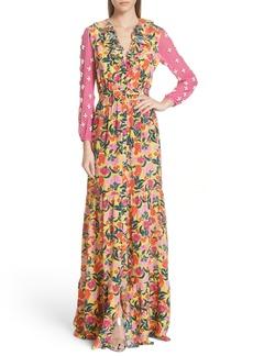 SALONI Ginny Floral Print Embellished Sleeve Silk Dress