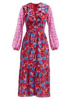 Saloni Ginny hydrangea-print silk-crepe midi dress