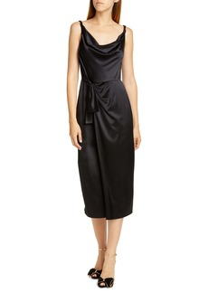 SALONI Giselle Draped Satin Midi Dress