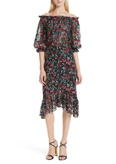 SALONI Grace Floral Embroidered Off the Shoulder Tulle Dress