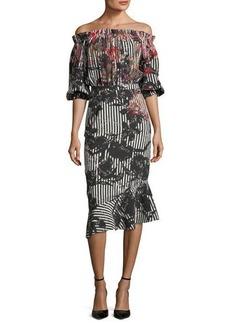 Saloni Grace Midi Floral Stripe-Print Dress