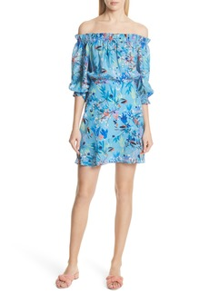 SALONI Grace Off the Shoulder Silk Dress