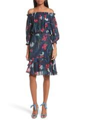 SALONI Grace Print Off the Shoulder Silk Dress