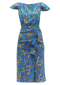 Saloni Heather berry-print bow-front silk dress