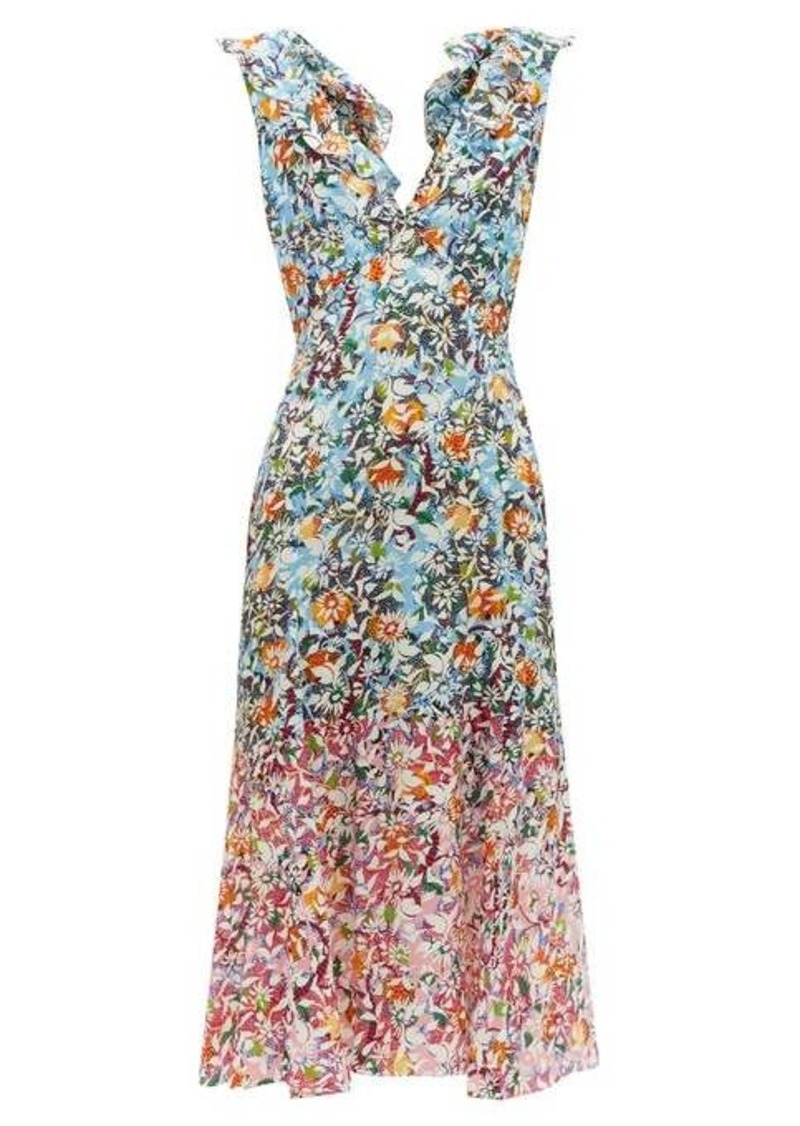 Saloni Holly floral-print silk-crepe dress
