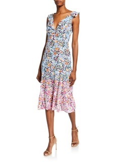 Saloni Holly Floral-Print Sleeveless Midi Dress