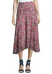 Saloni Ida A-Line Silk Midi Skirt
