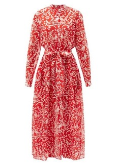 Saloni Inez phoenix-print cotton-blend shirt dress