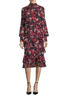 Saloni Isa Mock-Neck Floral-Print Silk Midi Dress