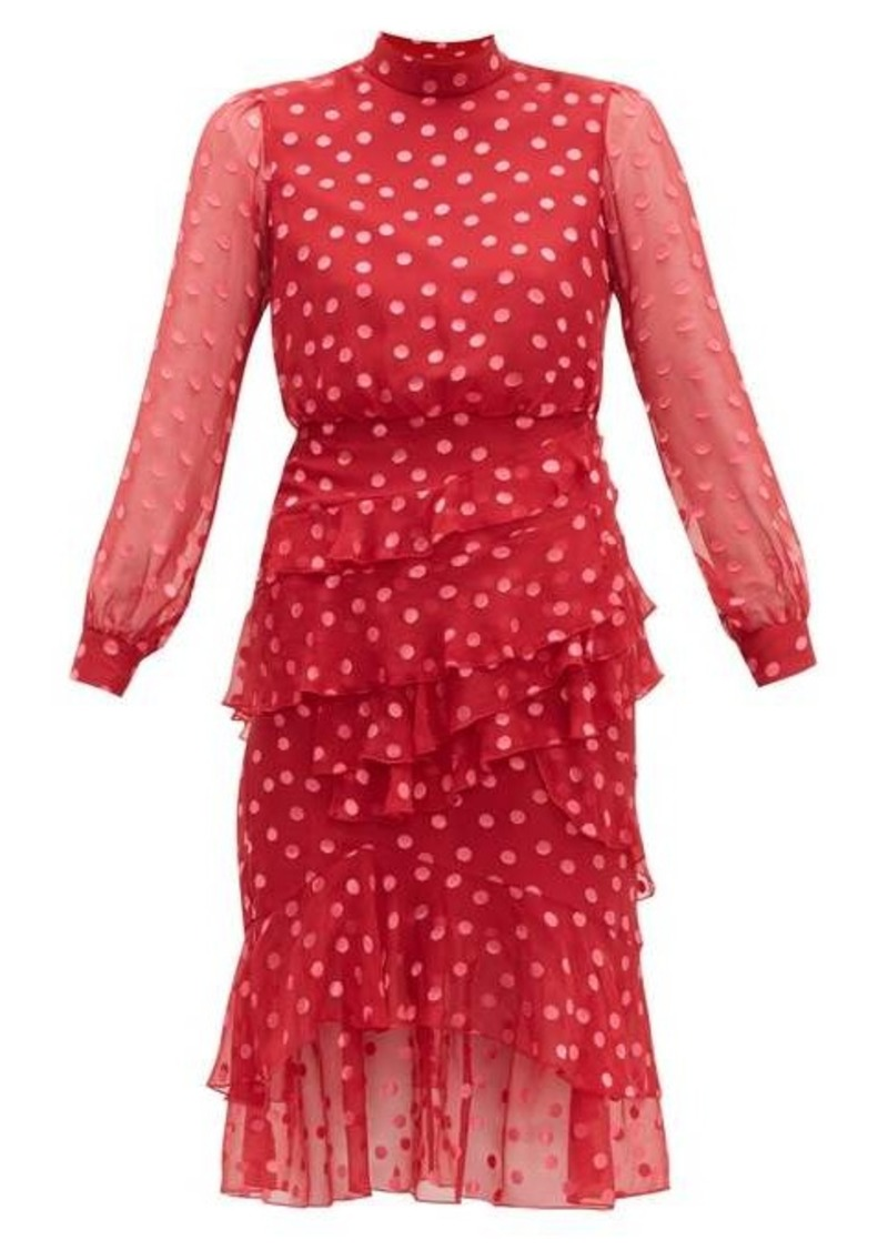 Saloni Isa polka-dot devoré silk-blend chiffon dress