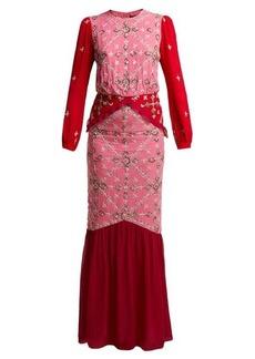 Saloni Isa sequinned silk-georgette dress