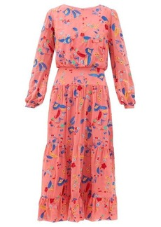 Saloni Isabel floral-embroidered silk midi dress