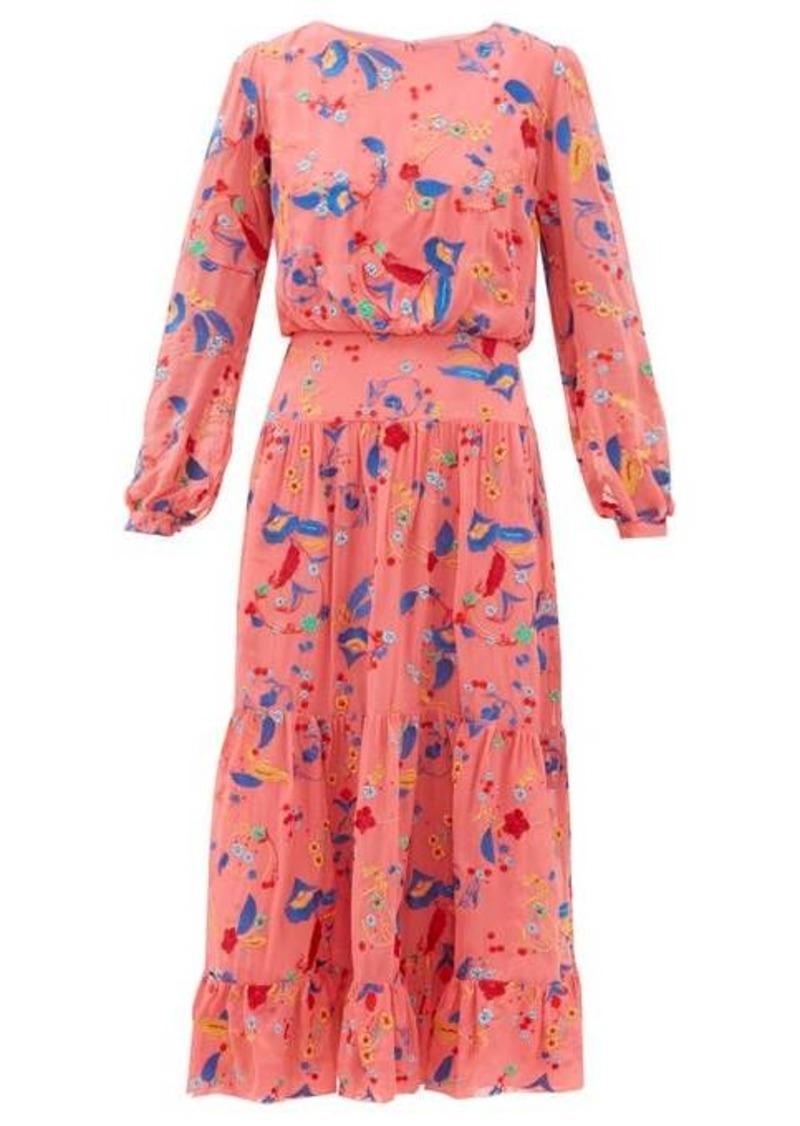 Saloni Isabel floral-embroidered silk midi dress