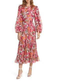 SALONI Isabel Floral Long Sleeve Silk Maxi Dress