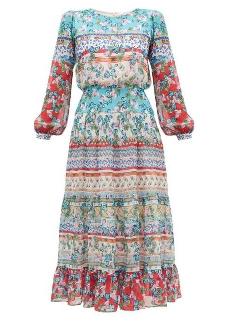 Saloni Isabel floral-print silk midi dress