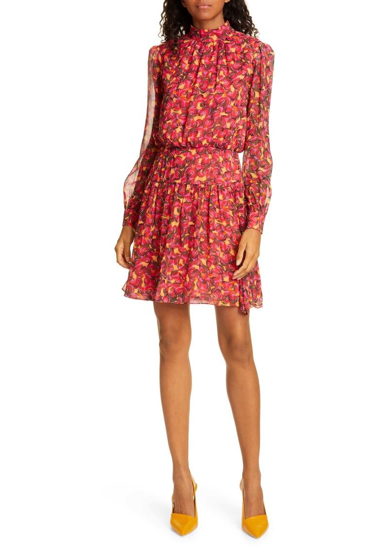 SALONI Isabel Floral Silk Long Sleeve Minidress