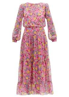 Saloni Isabel lemon-print silk-georgette dress
