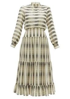Saloni Isabel metallic stripe-jacquard silk-blend dress